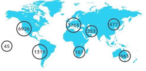 クロスフィット施設の世界マップ図