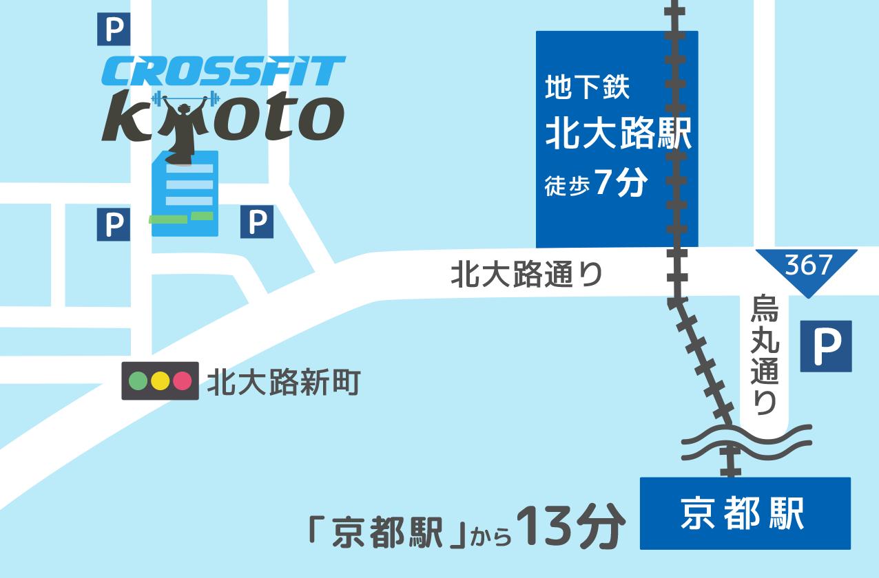 クロスフィット京都までの地図